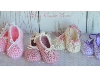Baby Shoes, Baby Ballet Shoes, Baby Booty, Infant Shoes, Crib Shoes, Pink Baby Shoes, Crochet Baby Shoes, Pregnancy Announcement
