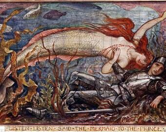 Listen Listen Said The MERMAID To The Prince.  Fairy Tale Vintage DIGITAL Illustration.  Digital Vintage Download. Digital Mermaid PRINT.