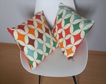 Orange and Red geometric patterned pillow cover, colorful vintage style