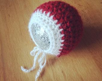 christmas Santa baby bonnet hat soft fluffy mohair. newborn photography prop, baby gift, winter hat