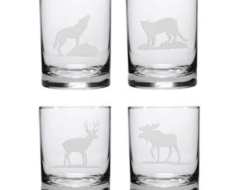 Wildlife Whisky Glasses / Set of 4 / Personalized Gift / Free Personalization / Moose, Deer, Cougar, & Wolf Glasses / Personalized Glass