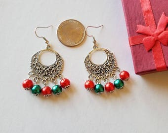 Christmas earrings, Red and Green earrings, Chandellier earrings, Christmas Jewelry.