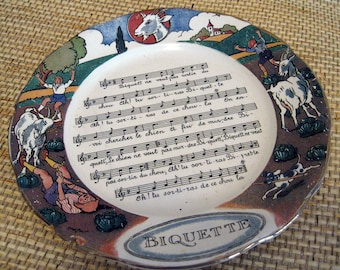Vintage French Musical Plate, Biquette about a Goat and Cabbage, as is