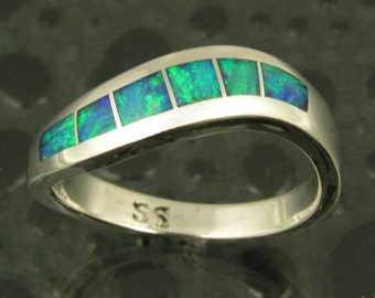 Australian Opal Ring in Sterling Silver, Opal Ring, Opal Inlay Ring, Blue Opal Ring