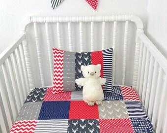 Baby Blanket Nursery Decor Minky Baby Blanket Woodland Nursery Baby Shower Gift Baby Quilt Navy Blue Grey Gray Red Deer Buck Arrow Baby Boy