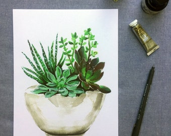 Succulent watercolour print