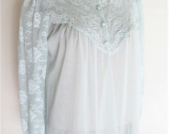 1960s Vintage Lingerie, Peignoir, Light Blue Sheer Lace, Long Robe, Long Sleeves, Shadowline, Size Small, Gift for Her, 60s Pin up Photoprop