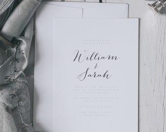 Printed Elegant and Romantic Silver Embossed Wedding Invitations. Silver Foil Wedding invites