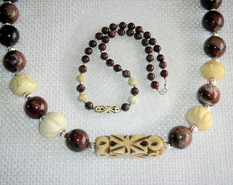 Red African Picture Jasper & Carved Bone Necklace Rich Earth Colors Brown and Off White Geometric Art Water Wind Flow