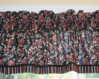 """Black Red Cream Floral Toile  Valance 17"""" x 81""""  Can Alter Curtain Window Treatment"""