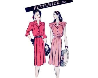 40s uncut Shirt Dress pattern Shirtwaist pattern Day Dress pattern vintage 34-28-37 Homefront Dress pattern Swing Dress butterick 3559