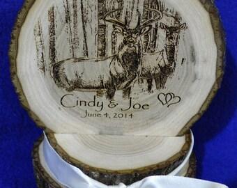 Rustic Cake Top ~ Rustic Wedding ~ Barn Wedding ~ Buck and Doe Cake Top ~ Country Wedding ~ Engraved Wood Cake Top ~ Custom Cake Top ~ Deer