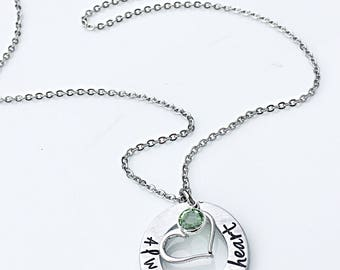 Always In My Heart, Infant Loss Jewelry, Hand Stamped Jewelry, Miscarriage, Angel Baby, Memorial Jewery, Baby Loss Necklace