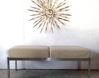 "Mid Century 46"" Knoll Steelcase chrome bench, 1960s retro Modern bench Eames Era"