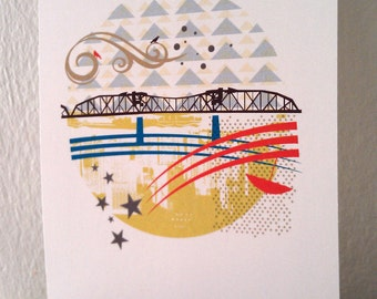 Broadway Bridge Portland 5X7 Print