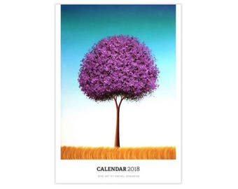 2018 Calendar, Monthly Calendar, Large Wall Calendar, Artsy Gifts, Office Supplies, Wall Art Planner, Christmas Gift, 12 Month Calendar