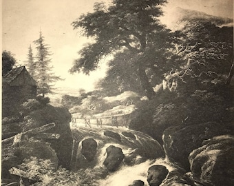 Ruisdael - Landscape with a Waterfall original 1920's antique print