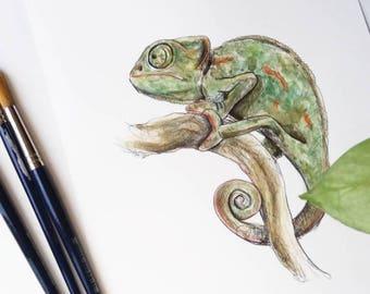 Chameleon-ORIGINAL Watercolor painting, unique, handmade chameleon film