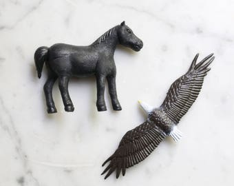 Pair of Vintage 1980s Animal Toys | Bald Eagle and Black Horse