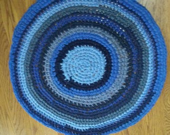 Crocheted Rag Rug Blue