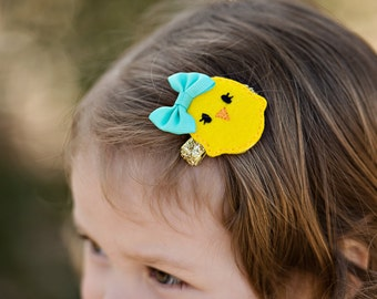 Easter chick bow - Chick hair bow - Chick headband - Easter hair bow - New baby gift - Baby Easter bow - Baby shower gift - Newborn photo