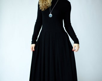 Maxi dress with sleeves, special occasion womens dresses, maxi black dress, maxi floor length black dress, dresses for women, long dress