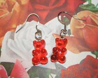 GUMMY BEAR EARRINGS,orange bear earrigns,kawaii earrigns,gummy bears earrings,bear earrings,gummy bear jewelry,candy earrings,candy jewelry