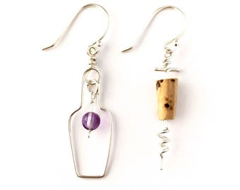 Wine Earrings. Sterling Silver Wine Bottle Grape and Cork Screw Earrings. Wine Lovers Earrings with Genuine Purple Amethyst and Real Cork.