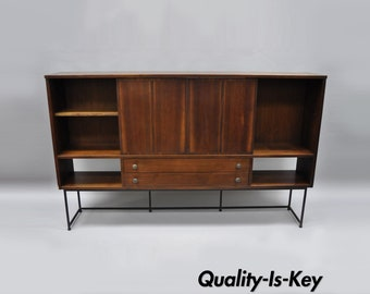 Mid Century Modern Walnut & Iron Base Bookcase Hutch Credenza Paul McCobb Style