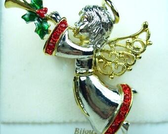 La Scala Rhodium Plated Christmas Angel with Swarovski Crystals 0864