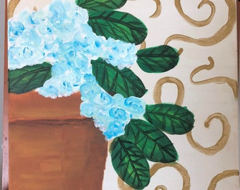 Gold and Blue Hydrangeas No. 2: Original 12x12 acrylic fine art painting. Part of 3 piece set.