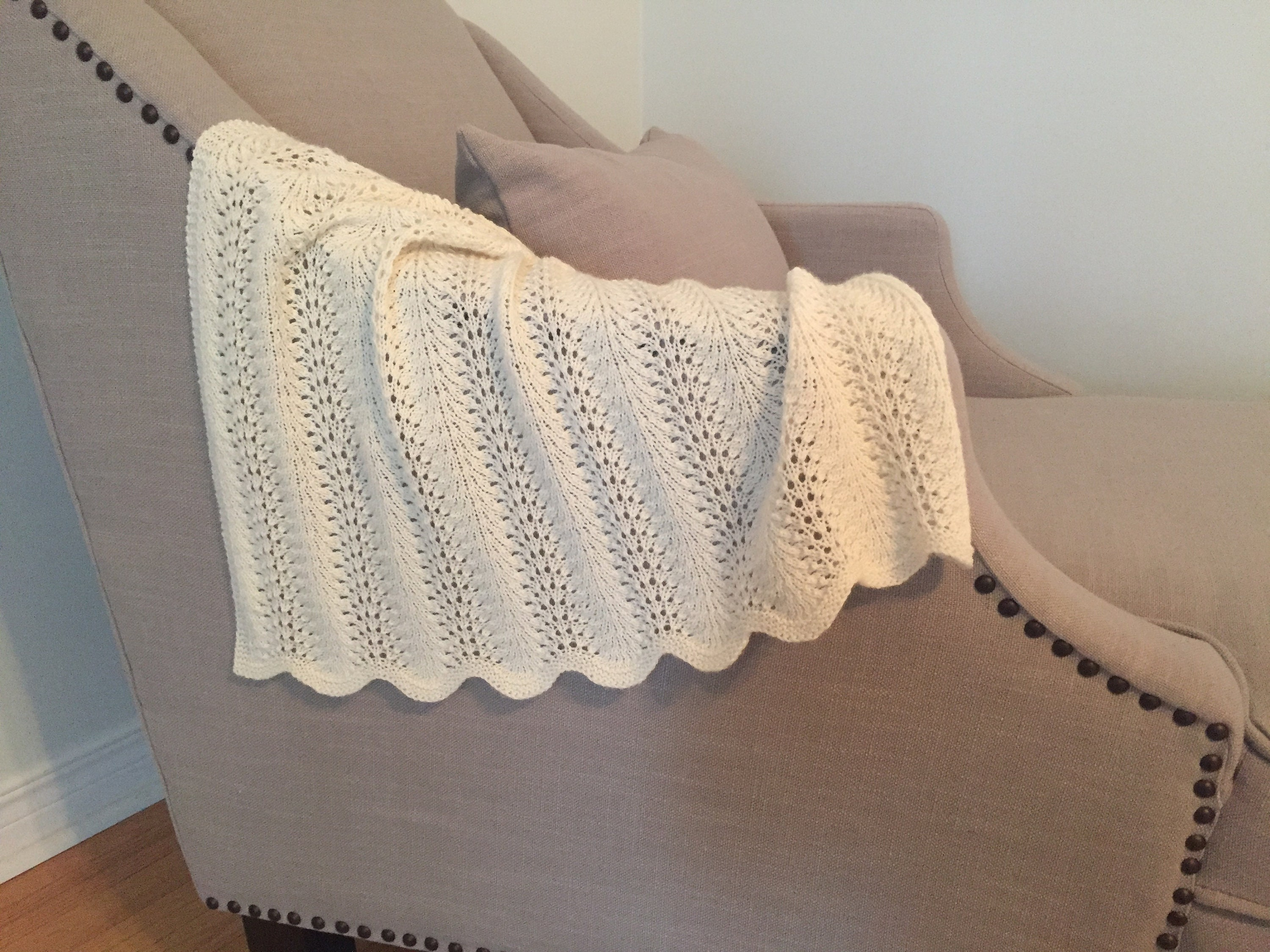 Feather and Fan Baby Blanket Knitting Pattern