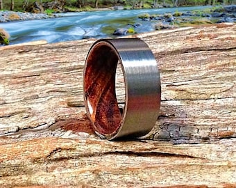 Mens Wood Wedding Ring | Wooden Wedding Band | Fine Tungsten Band | Meticulously Handmade from Coffeewood - Waterproof.