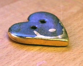 Handmade Ceramic Button 24k Gold  35mm Heart Shaped Button Porcelain Sewing Knitting Crochet Fibre Pottery Button Autumn Brown