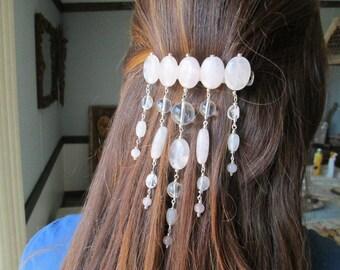Rose Quartz and Crystal Quartz Hair Clip