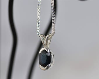 Blue Kyanite and Sterling Silver Necklace