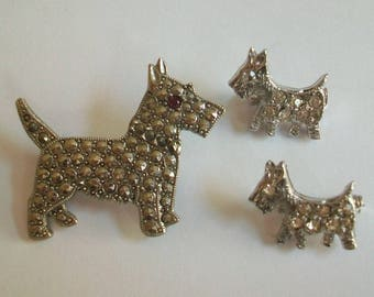 Scottie dog brooches, Scottish terrier brooch lot, dog brooches, marcasite, rhinestone, small, figural, scottie, puppy, small, scatter pins