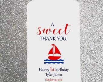 B20, Happy Birthday Bag, Boy, Sail Boat Bag, Nautical Bag, Candy Bag, Candy Buffet, Favor Bag, Treat Bags, Personalized bag, Piniata Bag