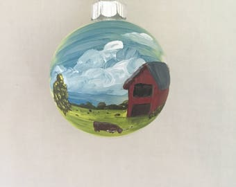 Texas Ranch with Barn, Hand Painted Glass Ornament
