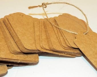 "50 Medium Kraft Brown Scallop Tags with twine. Hang Tags. Traveled or gift tags. 1.5"" x 2 7/8"""