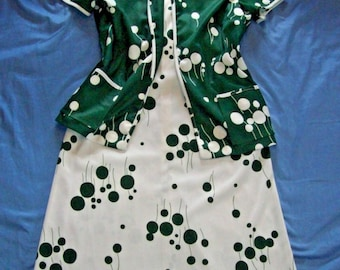 VINTAGE Dress white/green Dress with short sleeve cardigan size 12 retro outfit