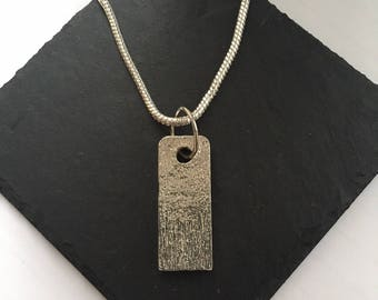 Wood Grain Effect Tag Pendant, Handmade in the UK from Modern English Pewter