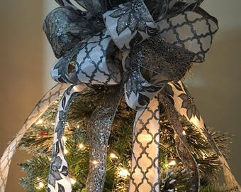 Lg Xmas Tree topper bow 3 ribbons white w/ silver glitter poinsettias, white with pewter ovals and a pewter glitter lace ribbon