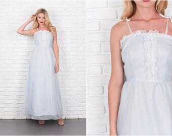 Vintage 70s Blue Boho Hippie Dress White Polka Dot Floral Lace XS 7896 Vintage dress 70s dress blue dress boho dress floral dress xs dress