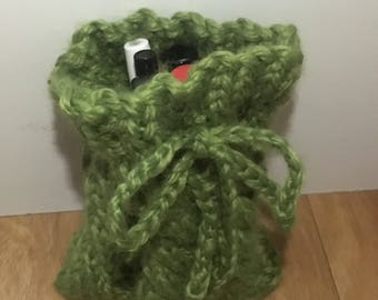 Hand Knitted Cable Drawstring Bag