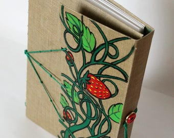 Strawberry Sketchbook, Journal, Blank Book, Handmade, One of a kind, Exposed stitching, Softcover, Includes fine point pen