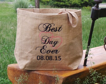 Custom Wedding Day Totes, Embroidered Burlap Tote, Bridal Shower Gift,  GIFT WRAPPED