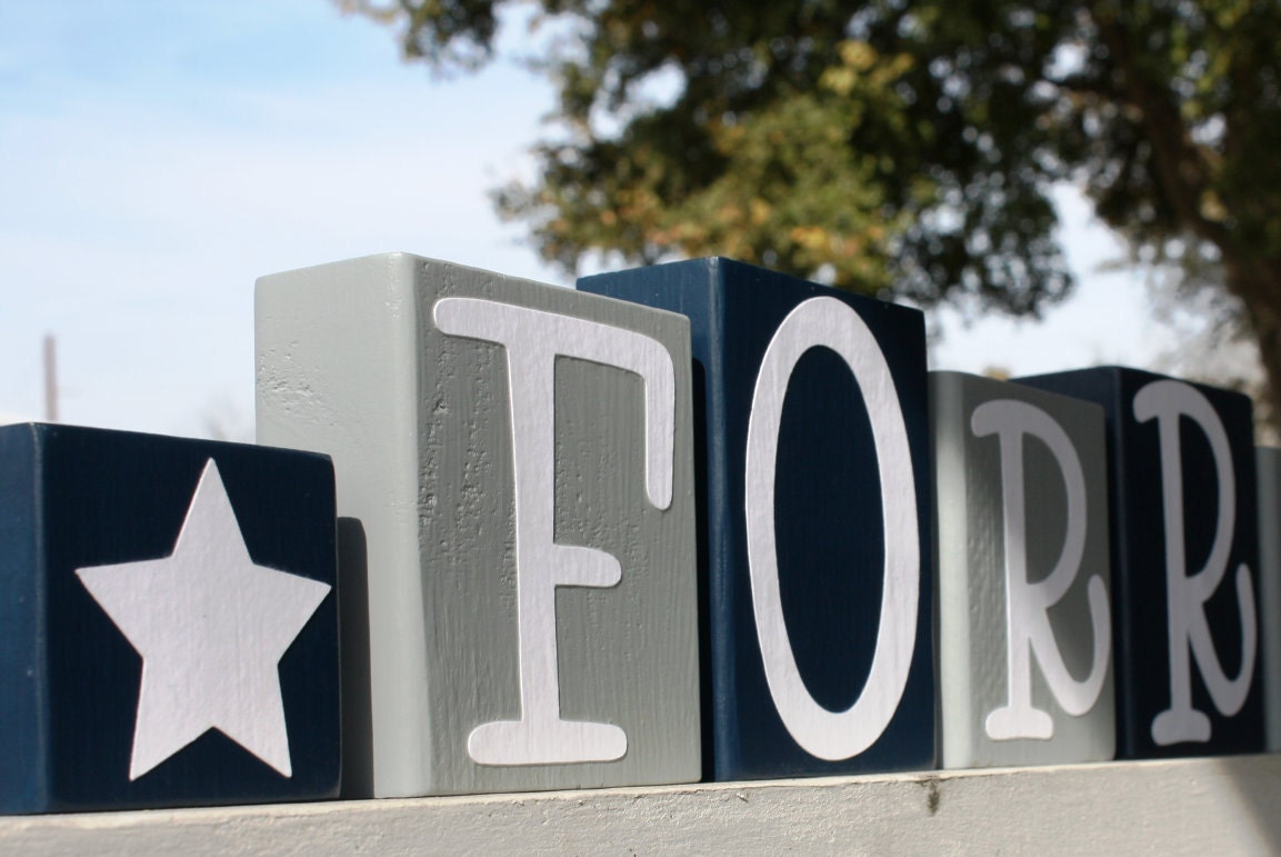 Personalized letter blocks baby shower gift dallas cowboys zoom negle Gallery