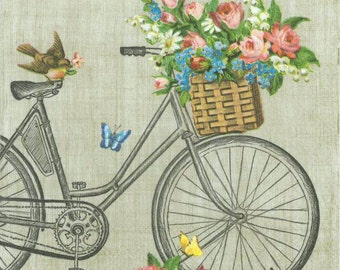 4 Decoupage Napkins | Bicycle Robin Butterflies and Flowers | Bicycle Napkins | Whimsical Napkins | Paper Napkins for Decoupage