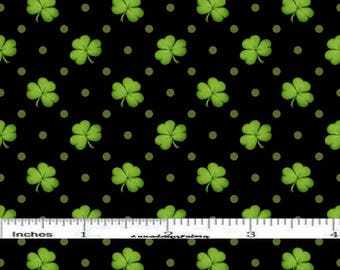 Shamrock Fabric, St Patricks Day Quilt Fabric, Henry Glass Lucky Me HEG 6852 99, Black & Green Shamrock Quilt Fabric, Cotton Yardage
